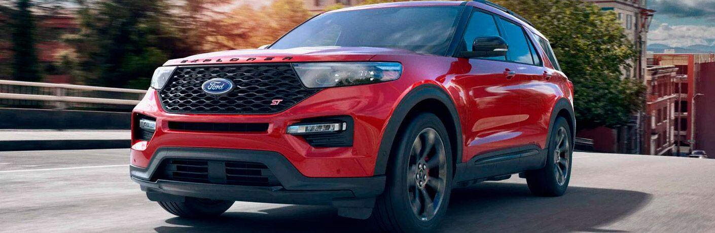 front view of a red 2021 Ford Explorer Enthusiast ST