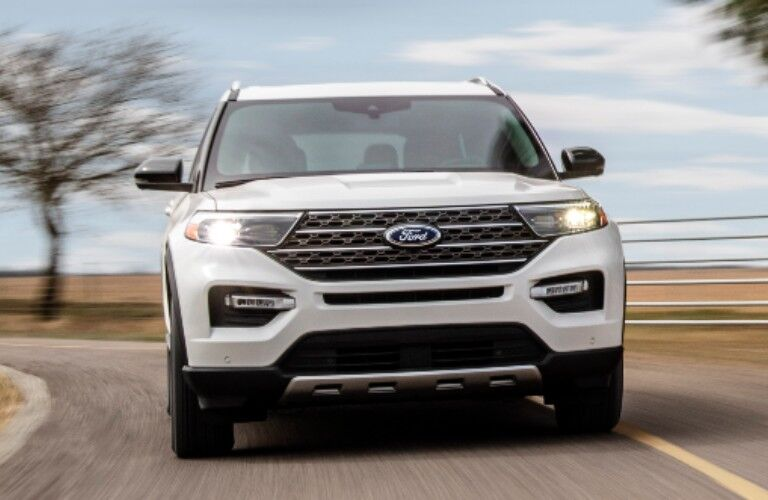 front view of a white 2021 Ford Explorer