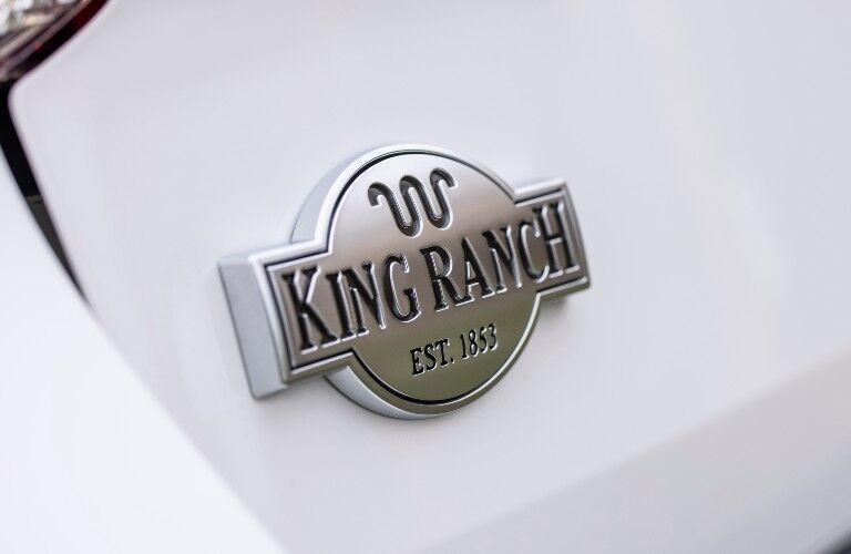 King Ranch badge on a white 2021 Ford Explorer King Ranch