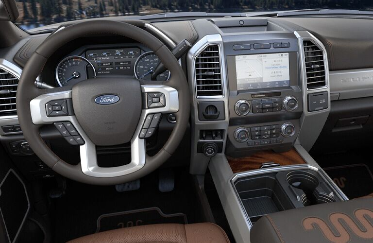 front interior of a 2021 Ford F-350