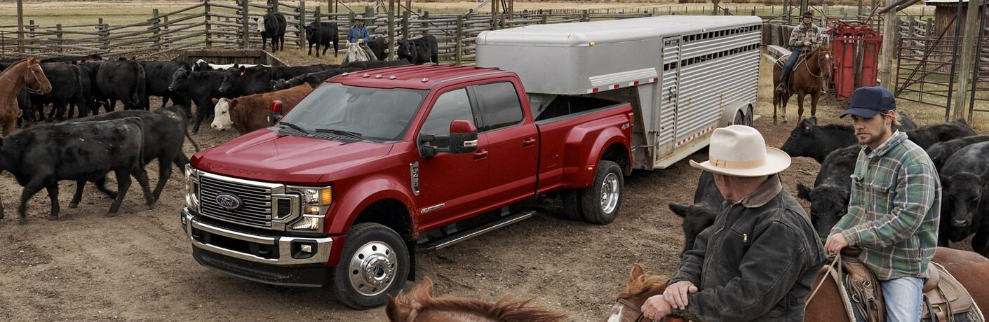 side view of a red 2021 Ford F-450