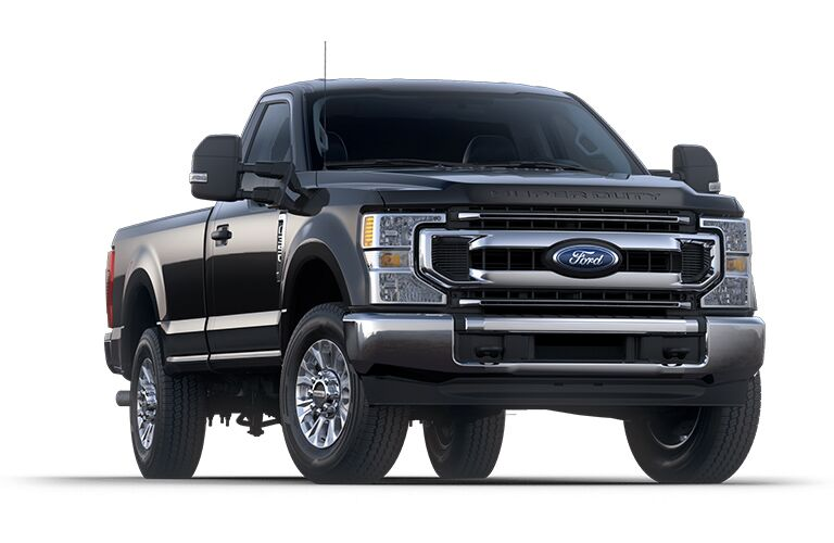 front view of a black 2021 Ford F-350