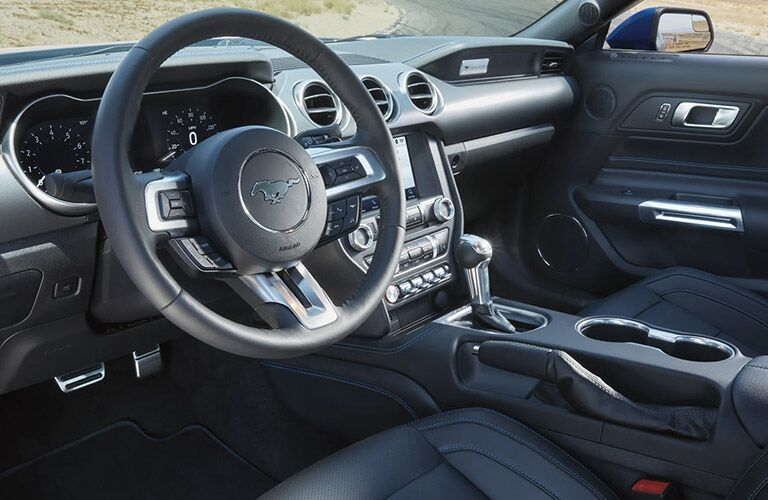 2021 Ford Mustang interior view of steering wheel