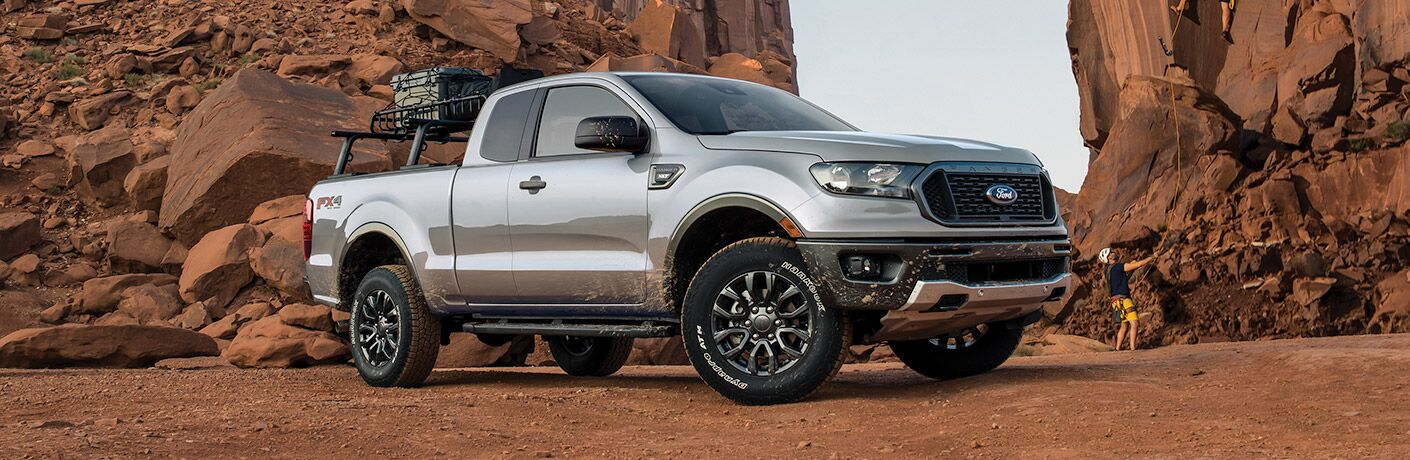 side view of a silver 2021 Ford Ranger