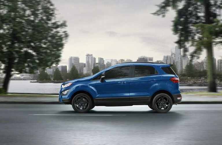 2021 Ford EcoSport on road in blue
