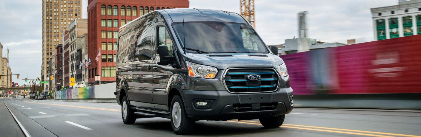 front view of a gray 2022 Ford E-Transit