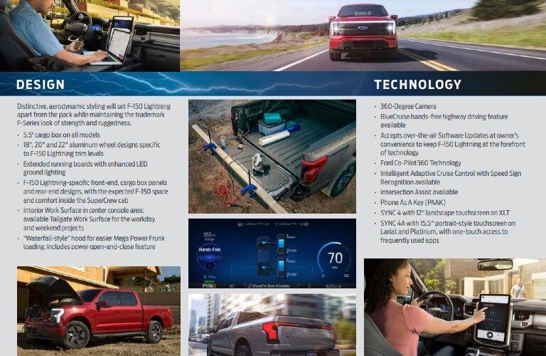 2022 Ford F-150 Lightning design and tech fact sheet