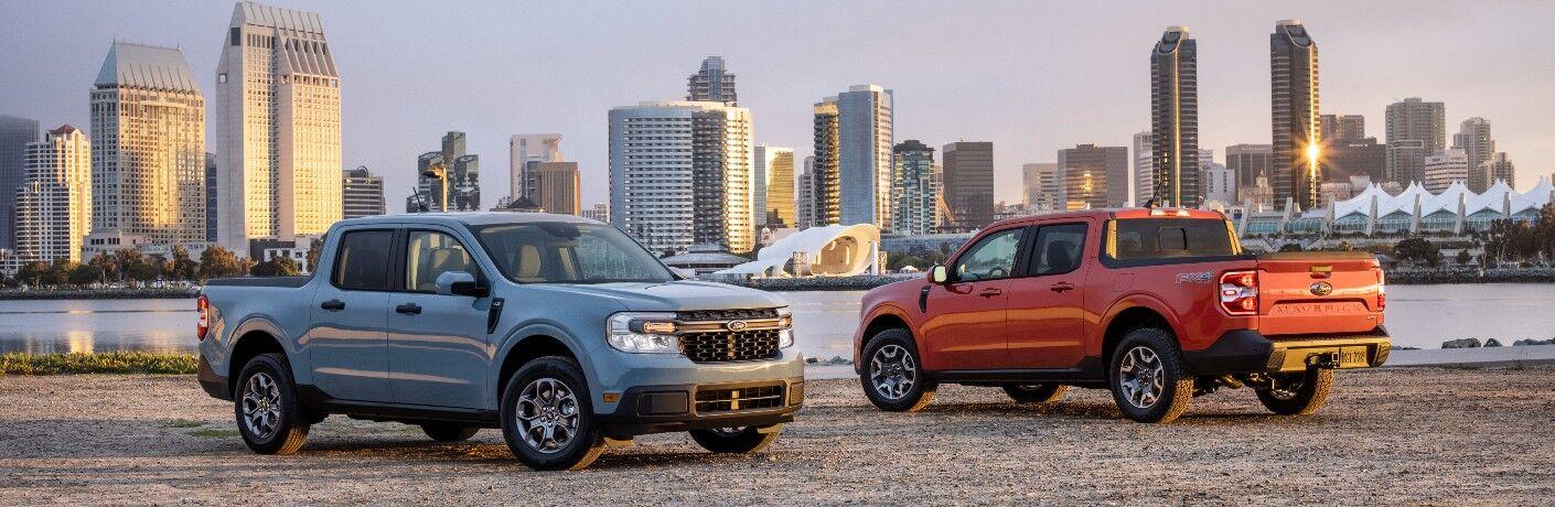 a pair of 2022 Ford Maverick compact trucks