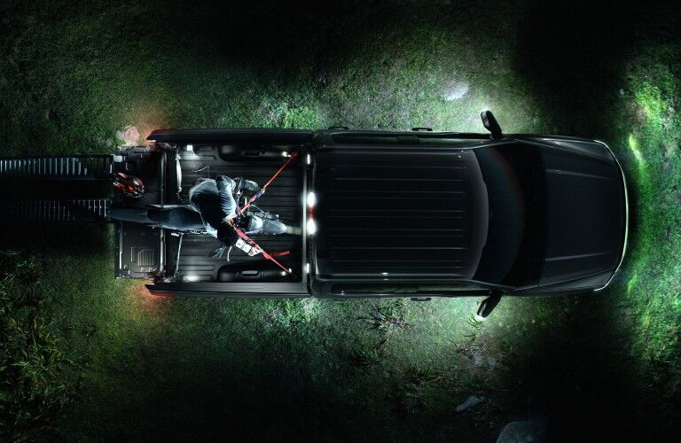 2022 Ford F-150 Lightning with lights on from above