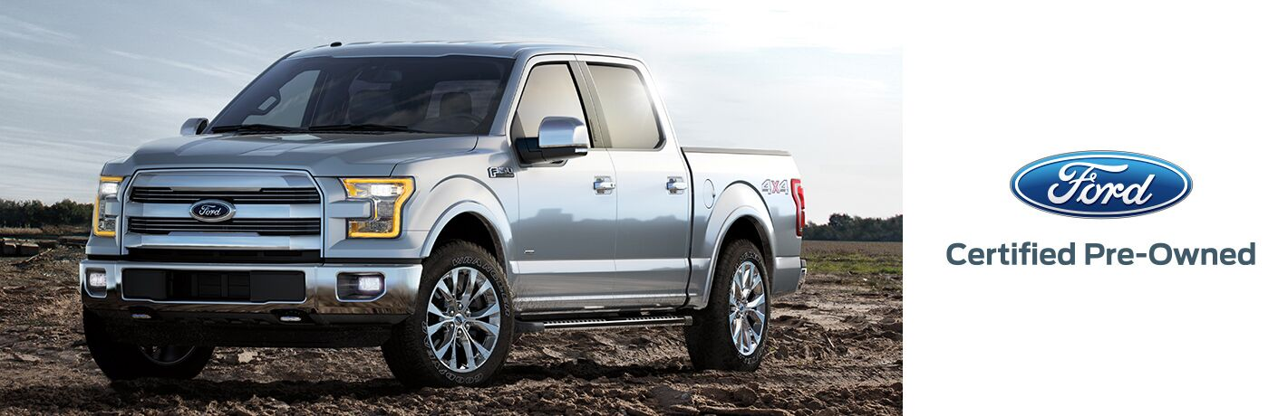 front view of a silver certified pre-owned Ford F-150