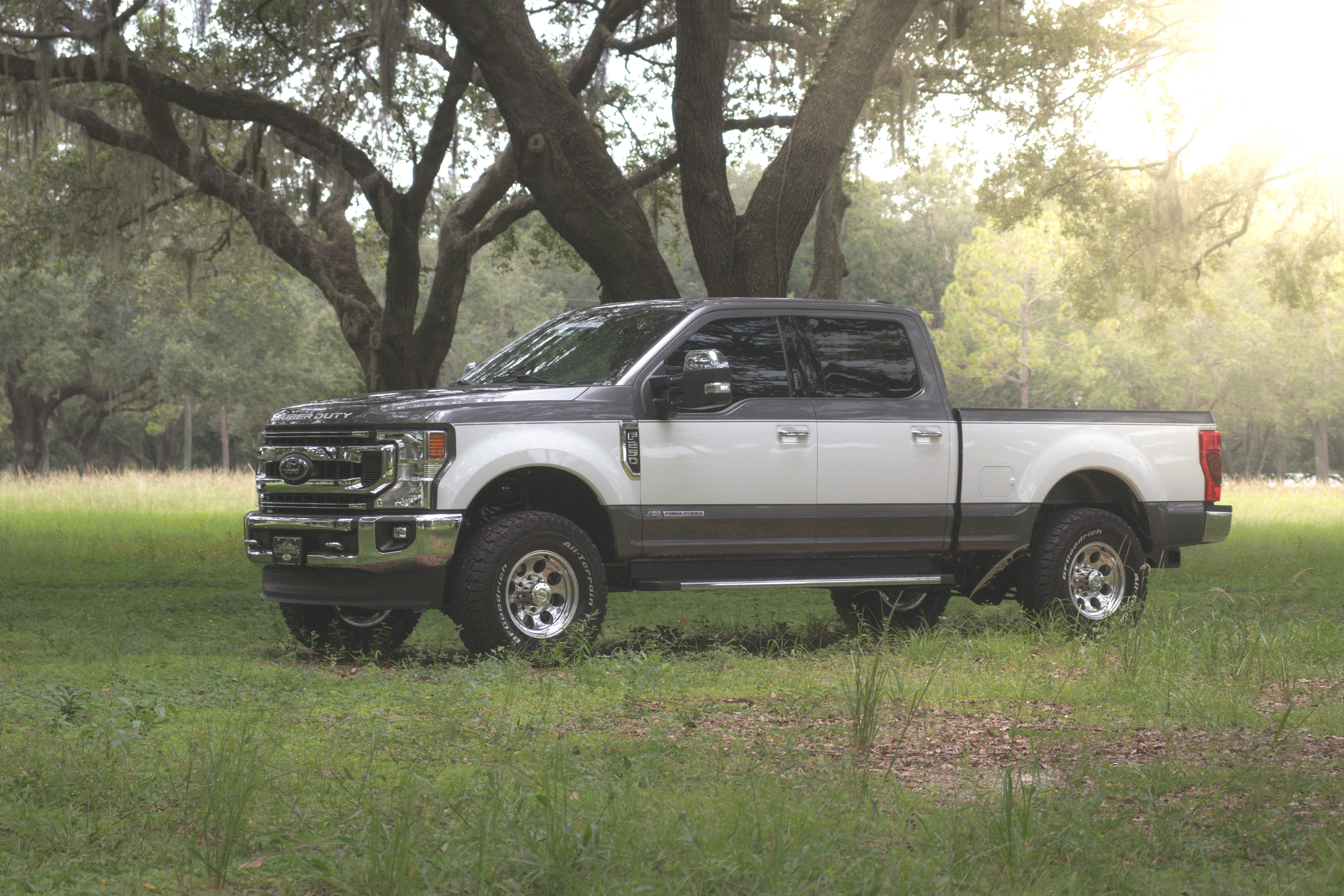 side view of a gray Ford Super Duty
