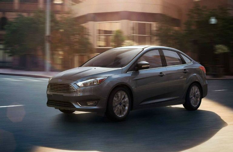 side view of a gray 2018 Ford Focus Sedan