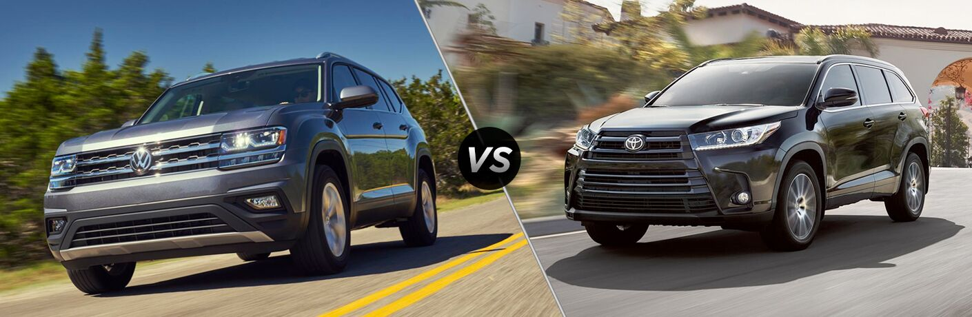 2018 VW Atlas exterior front fascia and drivers side vs 2018 Toyota Highlander exterior front fascia and drivers die with blurred trees and road
