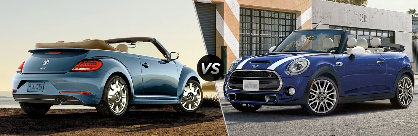 2018 VW Beetle Convertible exterior back fascia and passenger side with top down vs 2018 MINI Cooper Convertible exterior front fascia and drivers side top down