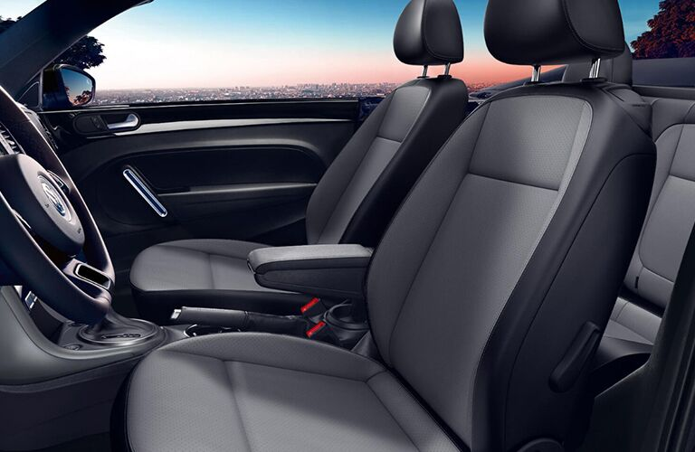 2018 VW Beetle Convertible interior front cabin side view of seats