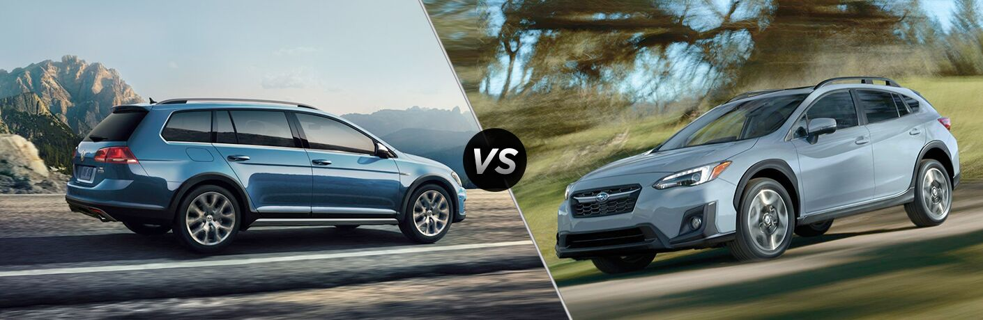 Blue VW Golf Alltrack and Subaru Crosstrek models in comparison image