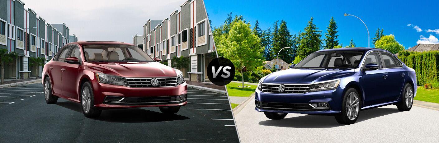 Split screen images of the 2018 Volkswagen Passat SE and 2018 Volkswagen Passat SE w/Technology