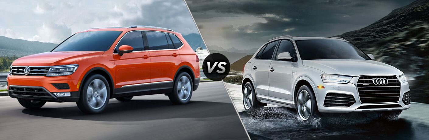Orange Volkswagen Tiguan positioned next to white Audi Q3 in comparison image