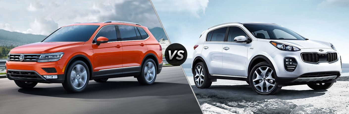 Orange Volkswagen Tiguan positioned next to white Kia Sportage in comparison image