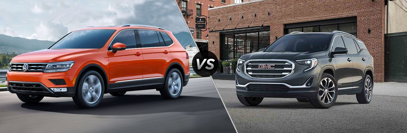 Split screen images of the 2018 Volkswagen Tiguan and the 2018 GMC Terrain