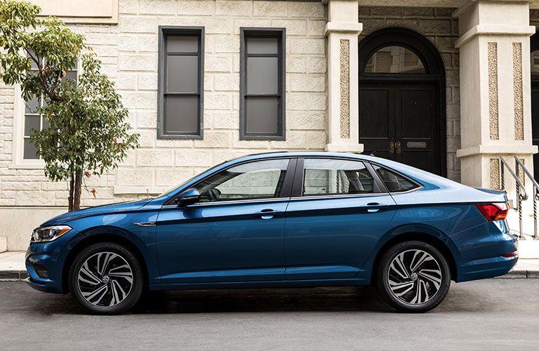 Concrete building and 2019 Volkswagen Jetta