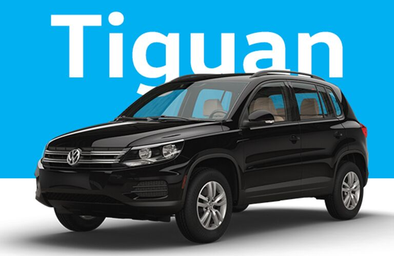 Volkswagen Tiguan over cyan and light gray background