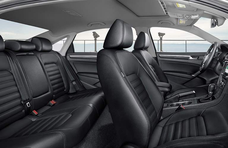 luxurious and decadent headroom and legroom in front and rear of 2018 volkswagen passat shown in black