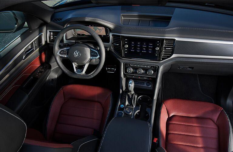 Steering wheel and interior of the 2021 Volkswagen Atlas Cross Sport