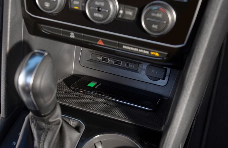 Gear stick and phone getting charged in 2021 VW Atlas