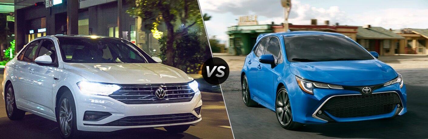 2021 Volkswagen Jetta standing next to 2021 Toyota Corolla