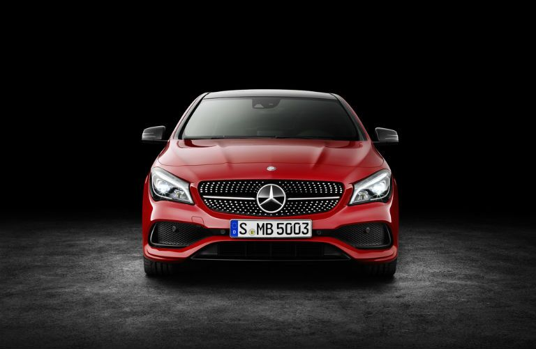 Red 2017 Mercedes-Benz CLA with diamond-studded grille