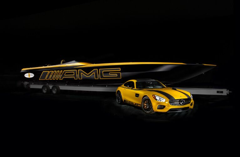 Yellow Mercedes-AMG GT S With Black Racing Stripes