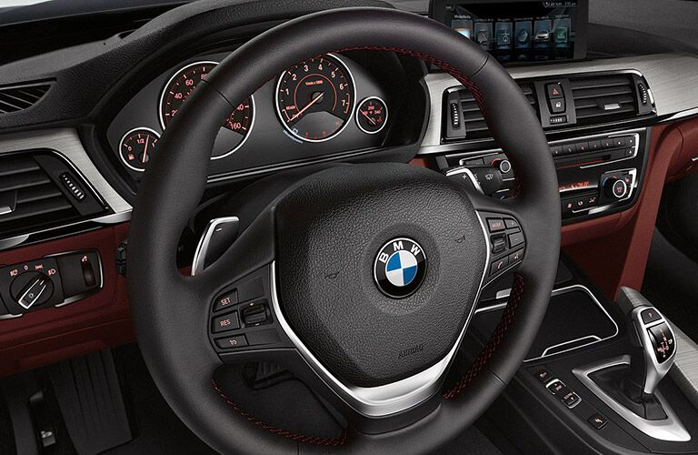 Close Up of BMW 4 Series Steering Wheel