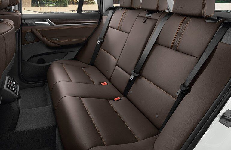 Brown 2017 BMW X3 Rear Seat Leather Interior