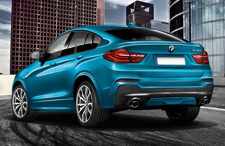 Teal 2017 BMW X4 Rear Exterior on City Street