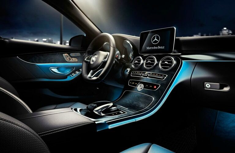 The interior of the C-Class shows the kind of features you can get in a used Mercedes-Benz near Dallas TX.