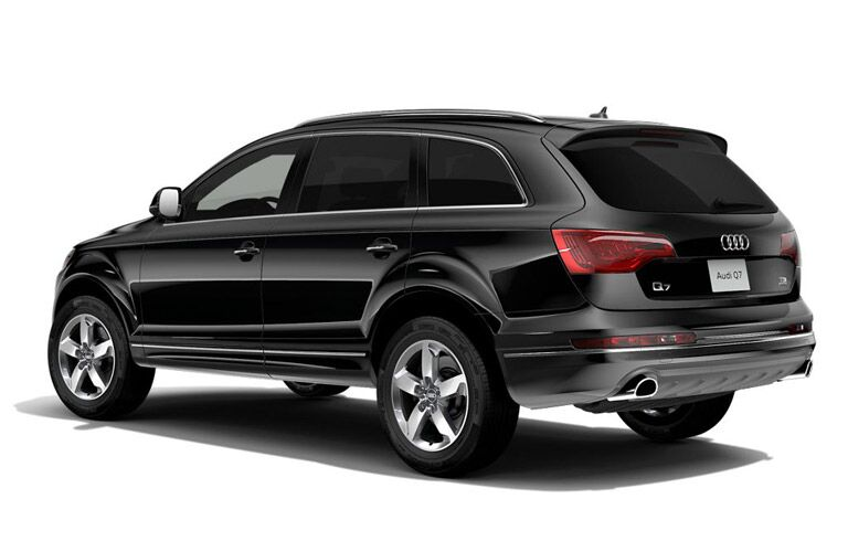 Black 2016 Audi Q7 Rear Exterior on a White Background