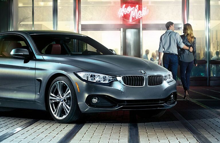 Gray 2016 BMW 4 Series Front Exterior Parked in Front of Diner at Night