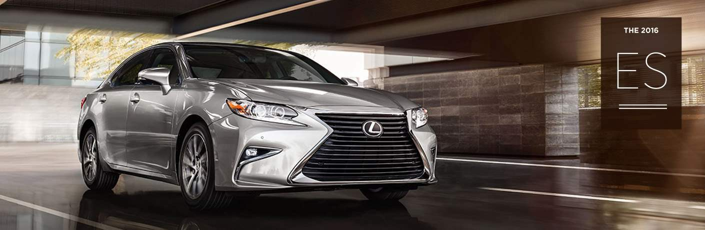 Silver 2016 Lexus ES Front Exterior in Tunnel with The 2016 ES Text