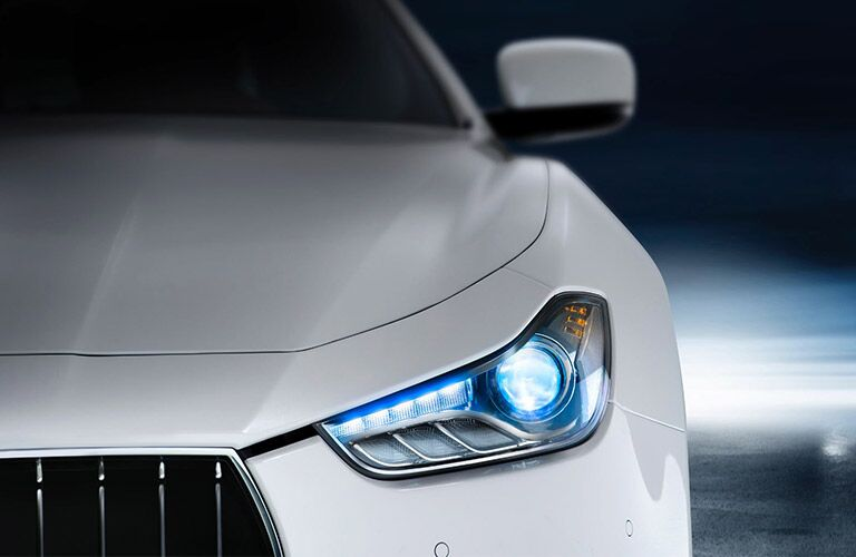 White Maserati model headlight