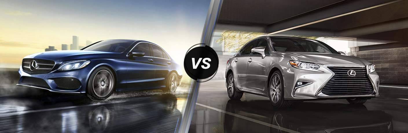 Blue 2016 Mercedes-Benz C-Class on Freeway vs Silver 2016 Lexus ES in Parking Garage