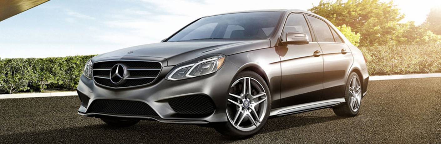 Gray 2016 Mercedes-Benz E-Class Front Exterior in Driveway
