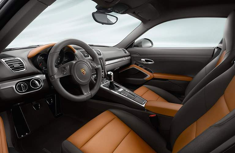Tan and Black 2016 Porsche Cayman Interior
