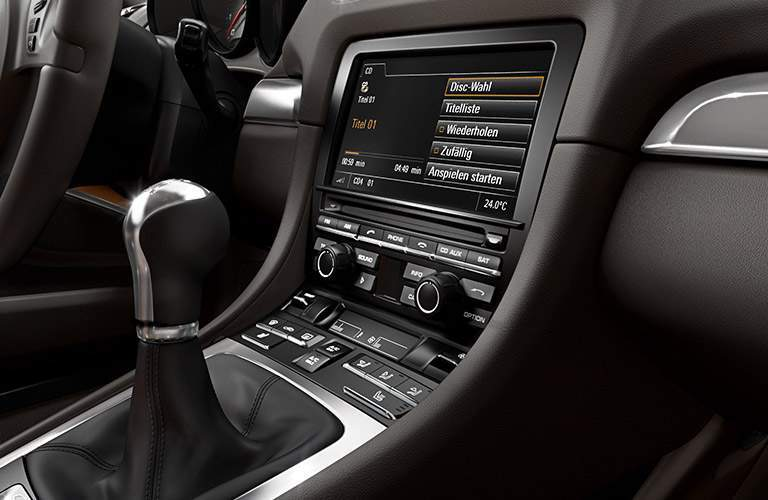 Close Up of 2016 Porsche Cayman Gear Shifter and Touchscreen Display