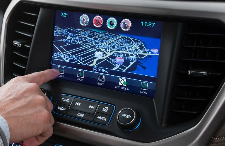 Close Up of 2017 GMC Acadia Touchscreen Navigation