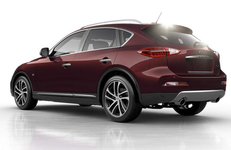 Red 2017 Infiniti QX50 Rear Exterior on White Background