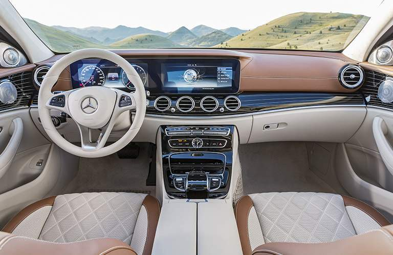 2017 Mercedes-Benz E-Class Tan Front Seat Interior with Steering Wheel and COMAND Touchscreen
