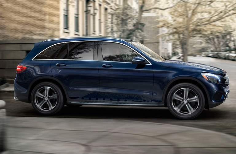 Blue 2017 Mercedes-Benz GLC Side Exterior on City Street