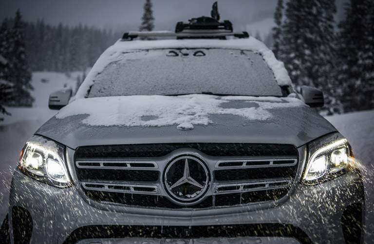 Gray 2017 Mercedes-Benz GLS Grille and Headlights in Snow Storm
