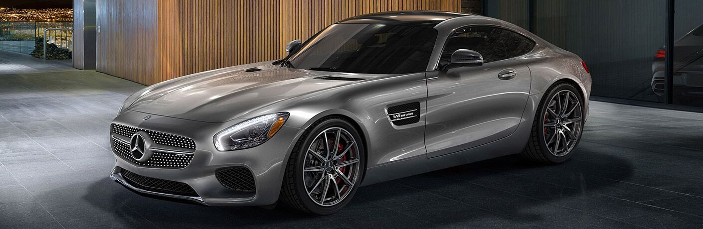 Gray 2017 Mercedes-AMG GT Parked in a Garage